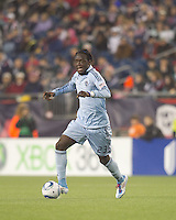 Sporting Kansas City midfielder Kei Kamara (23) at midfield. In a Major League Soccer (MLS) match, the New England Revolution defeated Sporting Kansas City, 3-2, at Gillette Stadium on April 23, 2011.