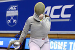 DURHAM, NC - FEBRUARY 25: Notre Dame's Claudia Kulmacz reacts after scoring a point in her Women's Saber semifinal match. The Atlantic Coast Conference Fencing Championships were held on February, 25, 2017, at Cameron Indoor Stadium in Durham, NC.