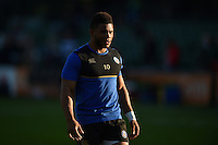 Kyle Eastmond of Bath Rugby looks on during the pre-match warm-up. West Country Challenge Cup match, between Bath Rugby and Gloucester Rugby on September 26, 2015 at the Recreation Ground in Bath, England. Photo by: Patrick Khachfe / Onside Images