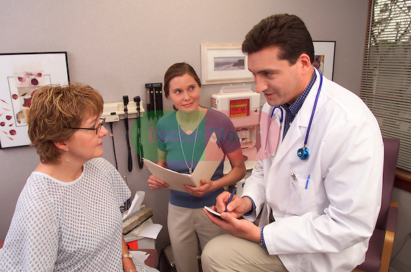male doctor writing prescription while talking with female patient ...