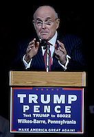 WILKES-BARR, PA - OCTOBER 10: Rudolph Giuliani speaks during Republican Presidential candidate Donald Trump's rally at the Mohegan Sun Arena in Wilkes-Barre, Pa on October 10, 2016. Credit: Dennis Van Tine/MediaPunch