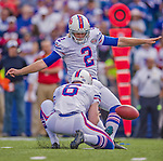 14 September 2014: Buffalo Bills kicker Dan Carpenter kicks his fourth field goal of the game against the Miami Dolphins at Ralph Wilson Stadium in Orchard Park, NY. The Bills defeated the Dolphins 29-10 to win their home opener and start the season with a 2-0 record. Mandatory Credit: Ed Wolfstein Photo *** RAW (NEF) Image File Available ***