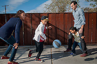 Kristina and Nicholas Krump and their boys, Ellis, 7 and Evan, 5 at their Phoenix home.