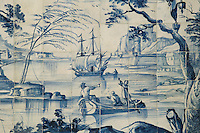 Men in a boat, from scenes of the history of the monastery and the Siege of Lisbon in 1147, traditional blue and white azulejos tile scene, 18th century, in the Monastery of Sao Vicente de Fora, an Augustinian order monastery and church built in the 17th century in Mannerist style, Lisbon, Portugal. The monastery also contains the royal pantheon of the Braganza monarchs of Portugal. Picture by Manuel Cohen