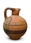 Stock photo of a Juglet Decoratively painted Cypro-classical wine jug 475-325 BC Cyprus Wine Museum Isolated silhouette with a clipping path over white background