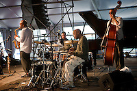 American jazz drummer and bandleader Roy Haynes of Roy Haynes Fountain of Youth performing on the WWOZ Jazz Tent stage at the New Orleans Jazz and Heritage Festival at the New Orleans Fair Grounds Race Course in New Orleans, Louisiana, USA, 24 April 2009.