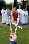 Palm Sunday Cross open air service. St Mary the Virgin Church of England Church of England Merton South Wimbledon London UK.