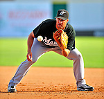 18 March 2009: Florida Marlins' infielder Gaby Sanchez warms up with infield drills prior to a Spring Training game against the Washington Nationals at Space Coast Stadium in Viera, Florida. The Marlins defeated the Nationals 7-5 in the Grapefruit League matchup. Mandatory Photo Credit: Ed Wolfstein Photo