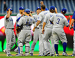 24 April 2010: Members of the Los Angeles Dodgers celebrate a win against the Washington Nationals at Nationals Park in Washington, DC. The Dodgers edged out the Nationals 4-3. Mandatory Credit: Ed Wolfstein Photo