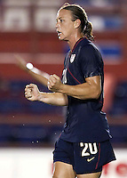 Abby Wambach of USA celebrates her goal.. USWNT vs Costa Rica in the 2010 CONCACAF Women's World Cup Qualifying tournament held at Estadio Quintana Roo in Cancun, Mexico on November 1st, 2010.