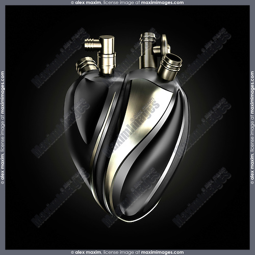 Metal heart as a machine part, conceptual 3D illustration isolated on black background