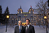 Portrait of Robert Schlup and Heinz Bloch of Sonneschein at the Kempinski Grand Hotel St Moritz Switzerland <br /> Photography by Zac Macaulay<br /> Tel +44(0)208 944 6933<br /> www.linkphotographers.com