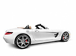 2012 Mercedes-Benz SLS AMG GT Roadster sports car side view isolated with clipping path on white background