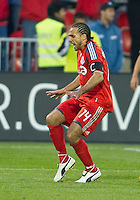 """15 April 2010: Toronto FC midfielder Dwayne De Rosario #14 does his patented """"shake & bake"""" celebration after scoring a goal during a game between the Philadelphia Union and Toronto FC at BMO Field in Toronto..Toronto FC won 2-1..Photo by Nick Turchiaro/isiphotos.com."""