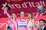 Bob Jungels (LUX) Quick-Step Floors retains the race leaders Maglia Rosa at the end of Stage 5 of the 100th edition of the Giro d'Italia 2017, running 159km from Pedara to Messina, Sicily, Italy. 10th May 2017.<br /> Picture: LaPresse/Gian Mattia D'Alberto | Cyclefile<br /> <br /> <br /> All photos usage must carry mandatory copyright credit (&copy; Cyclefile | LaPresse/Gian Mattia D'Alberto)