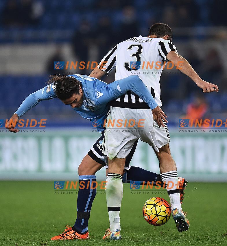 Alessandro Matri Lazio, Giorgio Chiellini Juventus <br /> Roma 04-12-2015 Stadio Olimpico Football Calcio 2015/2016 Serie A Lazio - Juventus Foto Andrea Staccioli / Insidefoto