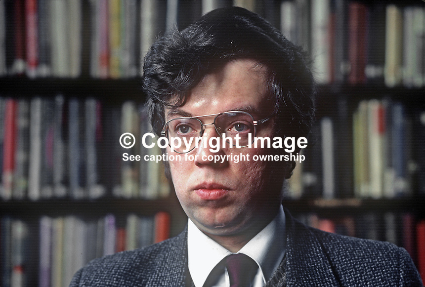 John Gray, librarian, Linenhall Library, Belfast, N Ireland, 198201006JG1.<br /> <br /> Copyright Image from Victor Patterson, 54 Dorchester Park, Belfast, UK, BT9 6RJ<br /> <br /> t1: +44 28 9066 1296<br /> t2: +44 28 9002 2446<br /> m: +44 7802 353836<br /> <br /> e1: victorpatterson@me.com<br /> e2: victorpatterson@gmail.com<br /> <br /> www.victorpatterson.com<br /> <br /> IMPORTANT: Please see my Terms and Conditions of Use at www.victorpatterson.com