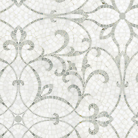Marabel, a natural stone hand cut mosaic, is shown in honed Thassos and polished Calacatta Tia marble. <br />
