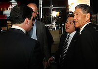 WASHINGTON, DC-JULY 10,2012:  Jason Levien, Erick Thohir and Will Chang during a D.C. United ownership press conference at the POV Lounge in the W Hotel, Washington, DC.