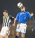 St Mirren v St Johnstone...25.03.14    SPFL<br /> Tim Clancy gets above Paul McGowan<br /> Picture by Graeme Hart.<br /> Copyright Perthshire Picture Agency<br /> Tel: 01738 623350  Mobile: 07990 594431