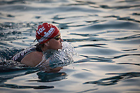 Mary Beth Ellis prepares for the start of the swim at the 2013 Ironman World Championship in Kailua-Kona, Hawaii on October 12, 2013.