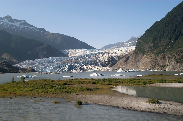 Alaska, Juneau: Mendenhall Glacier at Juneau.    .Photo #: alaska10027 .Photo copyright Lee Foster, 510/549-2202, lee@fostertravel.com, www.fostertravel.com.