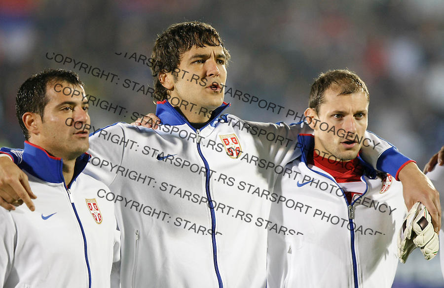 Fudbal, Qualifications for UEFA EURO 2012.Serbia Vs. Estonia.from left, Dejan Stankovic, Vladimir Stojkovic and Milan Jovanovic.Belgrade, 08.10.2010..foto: Srdjan Stevanovic/Starsportphoto ©