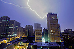 Lightning strikes at night in Philadelphia, Pennsylvania on June 30th 2012. (Photo by Brian Garfinkel)