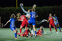 Boston, MA - Friday May 19, 2017: Mallory Weber, Abby Smith and Christen Westphal during a regular season National Women's Soccer League (NWSL) match between the Boston Breakers and the Portland Thorns FC at Jordan Field.