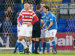 St Johnstone v Hamilton Accies...04.01.15   SPFL<br /> Simon Lappin pleads with referee Andrew Dallas<br /> Picture by Graeme Hart.<br /> Copyright Perthshire Picture Agency<br /> Tel: 01738 623350  Mobile: 07990 594431