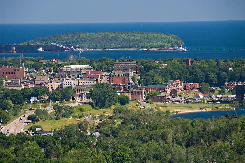 Overview of the city of Marquette Michigan and Lake Superior from Mount Marquette.