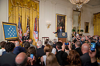 Washington DC, July 18, 2016, USA:    President Barack Obama awards the Medal of Honor to Lt. Col Charles Kettle for his actions in the Viet Nam war.  Patsy Lynch/MediaPunch