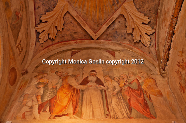 Fresco in the side chapel in the Church of San Salvatore which is a culimination of different centuries from the Roman ruins to 6th century columns to 15th and 16th century frescos; The Church of San Salvatore in the Santa Giulia Museum Complex in Brescia, Italy