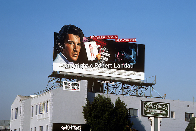 Richard Gere  on Sunset Strip billboard for movie Breatless circa 1983