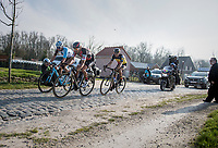 race leaders Greg Van Avermaet (BEL/BMC), Philippe Gilbert (BEL/Quick Step floors) &amp; Oliver Naesen (BEL/AG2R-LaMondiale) on the Varent cobbles<br /> <br /> 60th E3 Harelbeke (1.UWT)<br /> 1day race: Harelbeke &rsaquo; Harelbeke - BEL (206km)