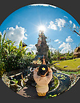 """The Balinese temple at Fivelements faces east to the rishing sun and Mount Agung -- Bali's """"navel of the world""""."""