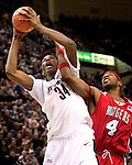 HARTFORD, CT. 03 February 2007-020307SV05--#35 Hasheem Thabeet of UConn gets fouled by #4 Adrian Hill of Rutgers during basketball action at the Hartford Civic Center in Hartford Saturday.<br /> Steven Valenti Republican-American