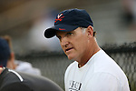 26 September 2013: Virginia head coach Steve Swanson. The Duke University Blue Devils hosted the University of Virginia Cavaliers at Koskinen Stadium in Durham, NC in a 2013 NCAA Division I Women's Soccer match. Virginia won the game 3-2.