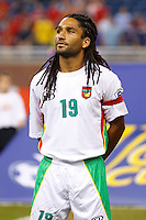Guadeloupe midfileder Stephane Auvray (18) before the CONCACAF soccer match between Panama and Guadeloupe at Ford Field Detroit, Michigan.