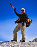 River guide Phil Boyer trekking on Glacier Viedma in the Parque Nacional los Glaciares, Argentina.
