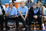 04 November 2015: UNC head coach Sylvia Hatchell (center) with assistants Andrew Calder (right) and Bill Lee (left). The University of North Carolina Tar Heels hosted the Wingate University Bulldogs at Carmichael Arena in Chapel Hill, North Carolina in a 2015-16 NCAA Women's Basketball exhibition game. UNC won the game 86-84.