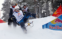 Possibly the worlds first ever contest of its kind, RedBull Sparkstøtting (kick sled) Supercross was held in the Grefsenkollen ski slope on Jan 30, 2009.  Oslo, Norway. Winners: Jonas Aalberg (21) and Sindre Wik  Nordby (21)