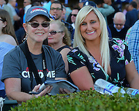 HALLANDALE BEACH, FL - JANUARY 28:  California Chrome fans waiting patiently for the $12,000,000 Pegasus World Cup Invitational on Pegasus World Cup Invitational Day at Gulfstream Park on January 28, 2017 in Hallandale Beach, Florida. (Photo by Liz Lamont/Eclipse Sportswire/Getty Images)