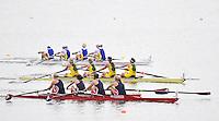 Brandenburg, GERMANY,  BW4- Repechage, USA BW4-  Winning, Bow Hilary CUMBEST, Elizabeh ROBB, Michell NANCE and Jessica LEIDECKER, 2008 FISA U23 World Rowing Championships, Friday, 18/07/2008, [Mandatory credit: Peter Spurrier Intersport Images]..... Rowing Course: Brandenburg, Havel Rowing Course, Brandenburg, GERMANY