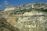 Crusader castle in the hillside at Kerak, Jordan.