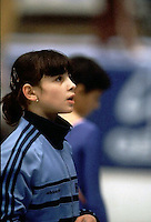 Portrait of Laura Cutina of Romania photographed on sidelines at 1985 European Championships in women's artistic gymnastics at Helsinki, Finland in late April, 1985.  Photo by Tom Theobald.