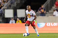 Jamison Olave (4) of the New York Red Bulls. The New York Red Bulls and the Philadelphia Union played to a 0-0 tie during a Major League Soccer (MLS) match at Red Bull Arena in Harrison, NJ, on August 17, 2013.