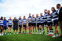 Matt Banahan of Bath Rugby speaks to his team-mates in a post-match huddle after the match. Aviva Premiership match, between Bath Rugby and Newcastle Falcons on September 10, 2016 at the Recreation Ground in Bath, England. Photo by: Patrick Khachfe / Onside Images