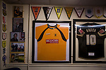 Prescot Cables 2 Brighouse Town 1, 13/02/2016. Hope Street, Northern Premier League. Archive photographs and other memorabilia on display in the social club before Prescot Cables played Brighouse Town in a Northern Premier League division one north fixture at Valerie Park. Founded in 1884, the 'Cables' in their name came from the largest local employer, British Insulated Cables and they have played in their current ground, also known as Hope Street, since 1906. Prescott won the match 2-1 watched by a crowd of 189. Photo by Colin McPherson.