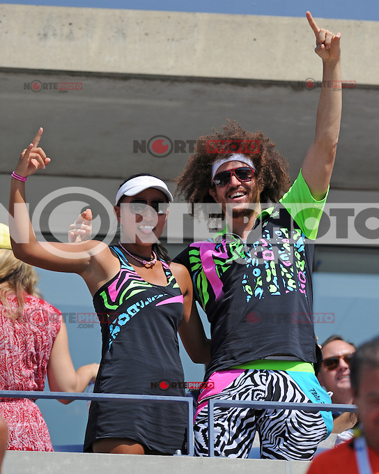 August 29, 2012: Stefan Kendal Gordy, aka Redfoo of LMFAO and Ayaka Okuno watching the Fish Vs Davydenko match at Arthur Ashe Stadium at the USTA Billie Jean King National Tennis Center in New York City. ..&copy; mpi04 / Mediapunchinc /NortePhoto.com<br /> <br /> **CREDITO*OBLIGATORIO** <br /> *No*Venta*A*Terceros*<br /> *No*Sale*So*third*<br /> *** No*Se*Permite*Hacer*Archivo**<br /> *No*Sale*So*third*
